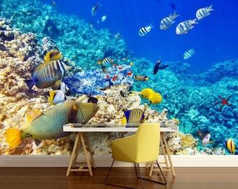 underwater world wall mural, underwater wallpaper, sea wall mural, underwater wall mural, fish wallpaper, coral wallpaper, reef wall mural,