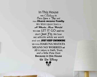 Good In This House We Do Disney Wall Decal Quote Lettering Vinyl Sticker Home  Room Kids Bedroom Awesome Ideas