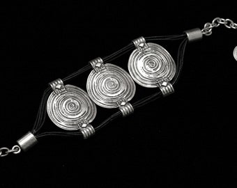 Antique Silver Plated Pewter Jewelry Bracelet 3050