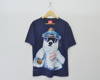 RARE!!! COKE Coca-Cola Shirt Vintage 90s Coke Coca-Cola Polar Bear Play Baseball Made in USA T Shirt Size M
