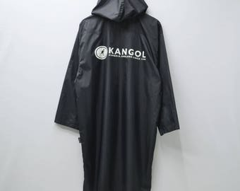 KANGOL Sweater Vintage 90's KANGOL 100% Nylon Button Hoodies Windbreaker Long Sweater Jacket Size M-L