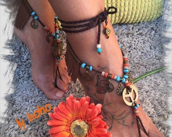"Sandalias-Tobilleras, Barefoot sandals, ethnic ""fringes"", crochet, boho chic, yoga, gypsy, wedding dance, bare feet, fringe, Brown"