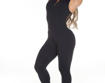 GAROTA FIT Right as Rain Black Workout  Jumpsuit