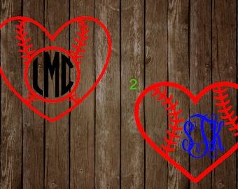Baseball Heart Monograms