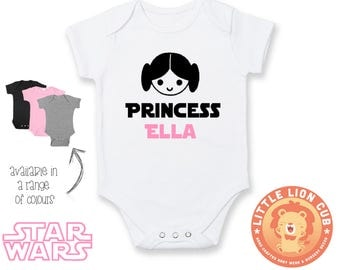 PERSONALIZED Star Wars Princess Leia inspired Onesie / Daddy's Little Princess / Baby Bodyvest / Star Wars Girl /Funny Onesie / Baby Outfit