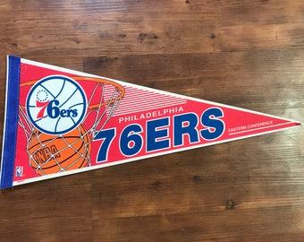 Vintage Philadelphia 76ers Pennant 1990's NBA memorabilia