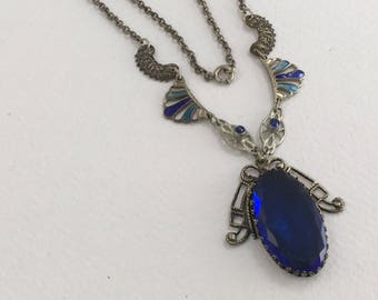 Vintage Czech Glass, Enamel and Filigree Necklace with large Blue Glass Stone Drop, circa 1920s