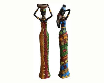 18 Inches Tall 2-Piece Set African Women Figure Decor Art Statues Sculptures - Human  Home Black Figurines For Table Top or Floor