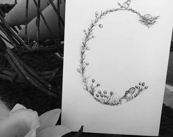 """C - 4""""x6"""" Hand Drawn Custom Letter Pencil Art - Woodland Theme Nursery Drawing featuring bunnies, flowers - Personalized Letter Gift"""
