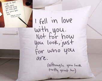 Throw Pillows With Letters On Them : Handwriting Pillow Cover Personalized Transfer Handwriting to