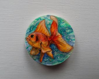 Fish brooch, goldfish brooch, fish jewelry, animal brooch, funny jewelry, wearable art, hand painted jewelry, orange brooch, fish jewelry
