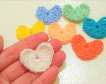 2pc  Crochet VALENTINE HEART Applique/ Scrapbooking Crocheted