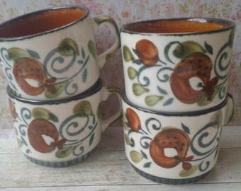 Summer Sale, Boch, La Louviere, Argenteuil, handmade, 4, mugs, cups, Made in Belgium
