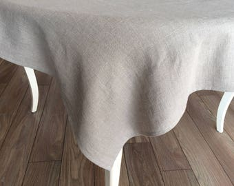 Christmas Natural Linen Tablecloth Softened Stonewashed Rustic Tablecloth  Custom Size Organic Farmhouse Tablecloth