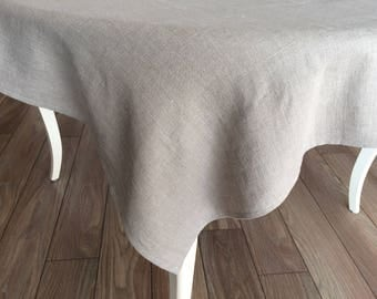 Natural linen tablecloth softened stonewashed-Easter rustic tablecloth custom size-organic farmhouse tablecloth-Rustic Wedding tablecloth