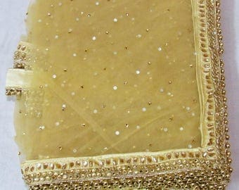 Evening Scarves  Net gold Dupatta Women stole Elegant Indian Gifts for Her Bridesmaid