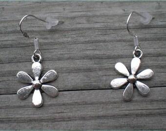Silver Flower Earrings, Charm Earrings, Sterling Silver Hooks, Hypoallergenic