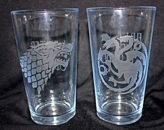 Game of Thrones Etched Pint Glasses
