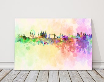 London painting modern decor Canvas Print Wall decor british picture skyline colourful watercolour