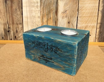 Candle holder metal blue wood