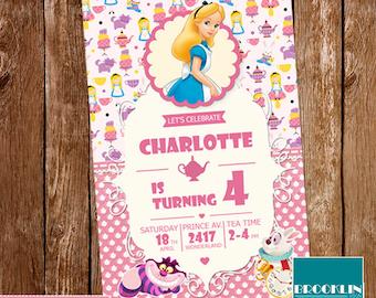Alice in Wonderland Invitation, Alice in Wonderland Birthday Invitation, Alice in Wonderland Printable Invitation, Alice Party Invitation