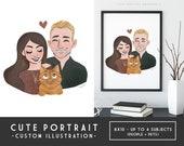 Sweet and Simple Custom Portrait - DIY Digital Printable, Art Commission, Anniversary Portrait, Couple with Pet Portrait