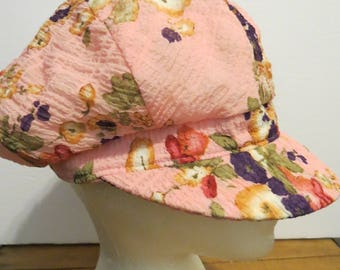 Pleasant Pheasant Floral Pink Women's Cap Hat SMALL Cabbie Newsboy Gatsby Made In Canada