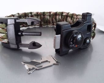 Bracelet kit survival Paracord compass, thermometer in camouflage/black tones