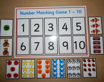 Number Matching Game -0-10, Numeracy, number recognition, maths, EYFS, Early Learning, teaching resource, educational game
