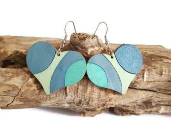 Blue wooden earrings