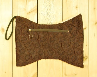1940's/50's Chocolate Brown Satin Muff / Midcentury / Rockabilly / Rare Collectable Retro