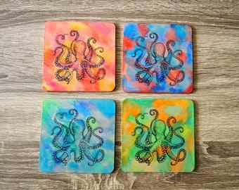Octopus Coasters; Set of 4 Coasters; Ocean Coasters; Watercolor coasters