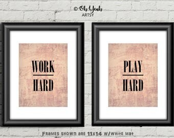 Work Hard Play Hard Motivation Art Print Set of 2 In Pink