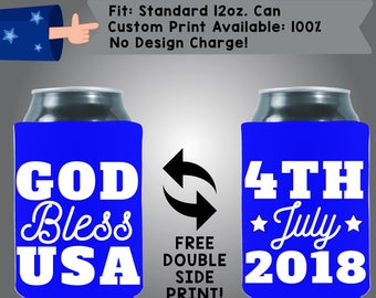 God Bless USA 4th July Date Collapsible Neoprene 4th of July Day Custom Can Cooler Double Side Print (FourthofJuly25)