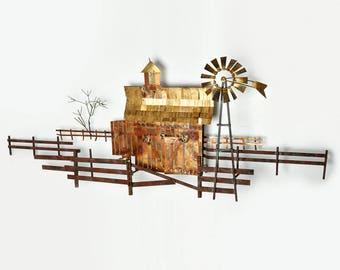 Vintage Curtis Jere Copper Farm scene wall sculpture