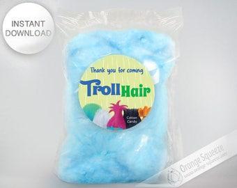 INSTANT DOWNLOAD, Trolls Cotton Candy Label, Stickers, Trolls Hair, Trolls Theme, Trolls Party, Trolls Favor labels, Birthday Party