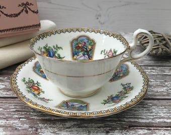 Aynsley 'Edena' Art Deco Teacup and Saucer - B291 - vintage
