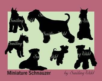 mini schnauzer svg miniature schnauzer silhouette vector graphic art dog digital file schnauzer clipart cut file png dog printable art print