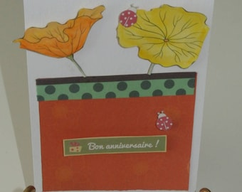 Card - happy birthday - flower Theme