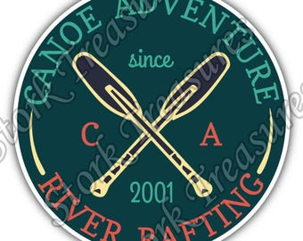 Canoe Adventure River Rafting Travel Camping Car Bumper Vinyl Sticker Decal
