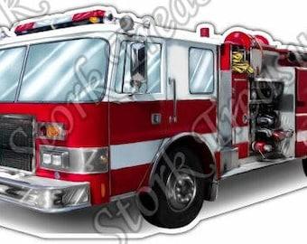 Firefighter Truck Skull Rescue Flame Fireman 911 Car Bumper Vinyl Sticker Decal