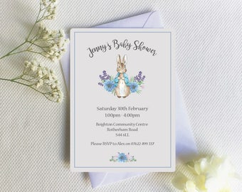 Baby shower invitation, Peter Rabbit baby shower invite, Beatrix Potter, Blue floral