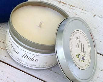 FREE SHIP-Fall Scents 8 oz 100% Soy Tin Soy Candle, Handmade gift, Scented Soy Candle, Hand poured, Bridal Shower, Baby Shower,Congrats
