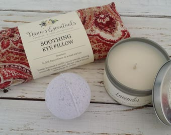 Gift sets under 30 -Migraine Relief Flax seed Peppermint Lavender Eye Pillow - 8oz Soy Candle - Lavender Blended Bath Bomb - Aromatherapy