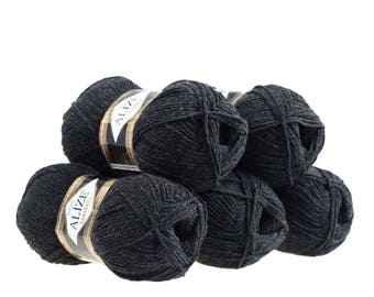 5 x 100 g yarn ALIZE Lanagold 49% wool, free choice of color (color: dark grey)