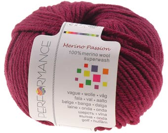 10 x 50g knitted yarn merino passion Superwash, #04 fuchsia