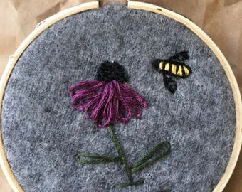"""3"""" Echinacea / Purple Cone Flower & bumble bee, vintage cashmere fabric, hand embroidered, embroidery hoop"""