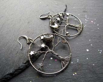 Midnight Moon Tree of Life Earrings,Tree of Life Earrings, Moon Stars Earrings, Boho Earrings, Tree Earrings, Pagan Earrings, Hoop Earrings