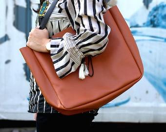Large Women Leather Tote Handbag - Handmade Leather Carryall Work Tote - Laptop Bag - Personalized Tote - Shoulder Bag - Everyday Market Bag