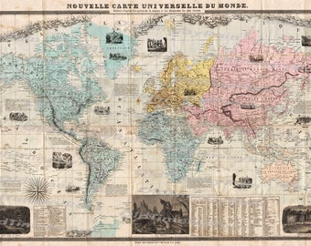 Vintage Old World Map/Image Download Retro Style Design/Resource Old Map Digital Prints/Delamarche Case Map of the Word/1859/